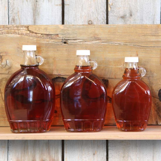 Glass bottled maple syrup