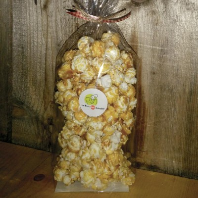 Maple sugar coated popcorn